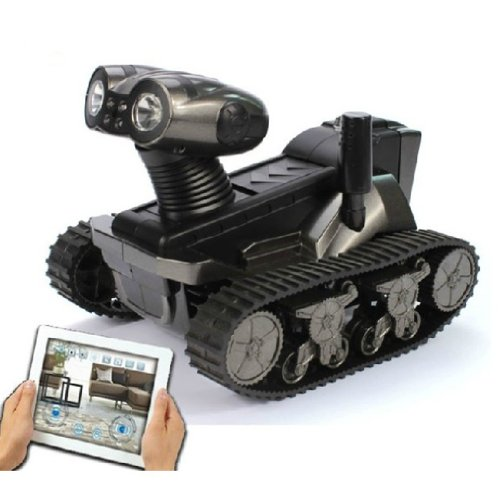 Wireless Spy Camera Detection Robot WiFi Iphone Ipad Android Remote Control Tank Car Real-time Video Camera Review