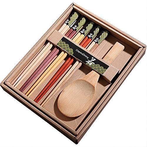 Siumir 6 Pares Japoneses Chopsticks Palillos de Madera Cuchara de Arroz Juego de Cubiertos Embalado en una Caja de Regalo