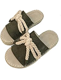 LIXIONG Zapatillas Hembra Verano Moda Nudo Mariposa Cuerda de cáñamo Tejido de Hierba Fondo Plano Acogedor Zapato, 3 Colores -Zapatos…