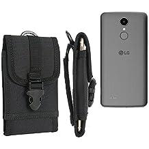 marsupio / custodia per LG Electronics K8 (2017), nero | cassa del telefono calotta di protezione Smartphone sacchetto esterno / campeggio - K-S-Trade (TM)