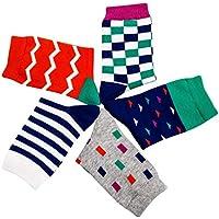 Feoya - Calcetines para Niños Niñas Dibujos Transpirable Suave Algodón Calcetines Calentito Infantil Multicolor 4-15 Años Pack de 5
