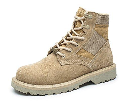 Honeystore Damen Desert Boots Klassische Lederstiefel Outdoor Wanderschuhe Casual Sportschuhe Beige 40 EU -