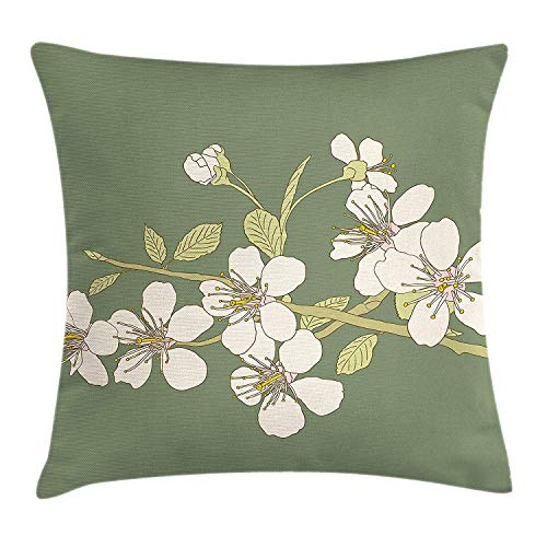 Cupsbags Green Oriental Throw Pillow Cushion Cover, Romantic Sakura Flower Flourishing on Branch Drawing Art, Decorative Square Accent Pillow Case, Reseda Green Pale Green Ivory16 Patterned Magnolia Branch