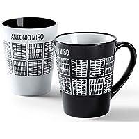 Taza Antonio Miró color negro. - Pack 12 unidades.