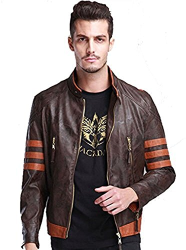 Cosdaddy / Logans Men's High Quality Leather Motorcycle Jacket Wolverine Cosplay Kostüm (L-170 cm)