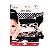MIA Tony Ties-2 in 1 Hair Ties/Bracelets! 2 Black Solid, 2 White Solid, 1 Grey Solid, And 1 Mixed Braided Tie (6 pieces per card)