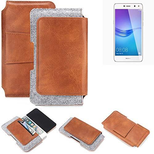 K-S-Trade Gürteltasche für Huawei Y6 (2017) Single SIM Gürtel Tasche Schutz Hülle Hüfttasche Belt Case Schutzhülle Handy Hülle Smartphone Sleeve aus Filz + Kunstleder (1 St.)