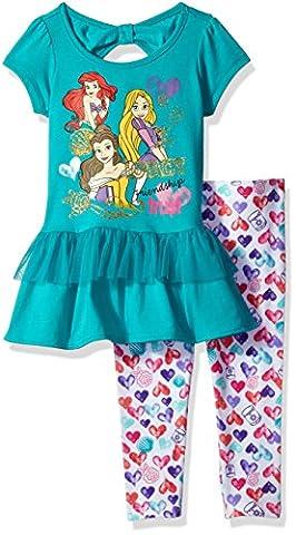 Disney Little Girls' Princess Short Sleeve Legging Set, Blue, 4