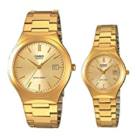 Casio Watch Set For Unisex Analog Yellow Gold Plated - MTP 1170N-9A-LTP 1170N-9A