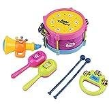 7pezzi Bambini Mini Band Strumenti Musicali Giocattoli Educativi Set Campana del Tamburo Sabbia Martello Tromba Giocattolo a Percussione per Bambini