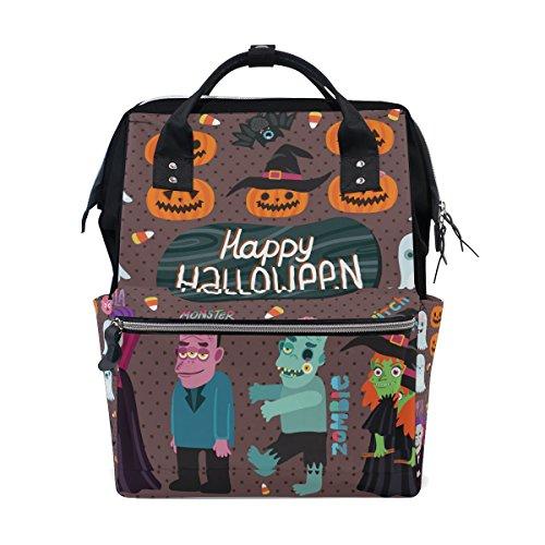 COOSUN Halloween-Hexe Dracula Monster Und Zombie Nappy Wickeltasche Windel Rucksacks mit Insulated Taschen Stroller Straps, großen Kapazitäts-Multi-Funktions-stilvoller Windel-Tasche für Mama Dad ()