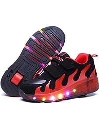 Sunching Zapatos de Prewalk LED de los muchachos de los muchach Lingt encima de la zapatilla de deporte rosado tamaño 26