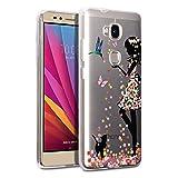 Hülle für Honor 5X Cover , Wenjie Transparent Mädchen Schmetterling Blume Silikon Handyhülle Schutzhülle für Huawei Honor 5X 5.5