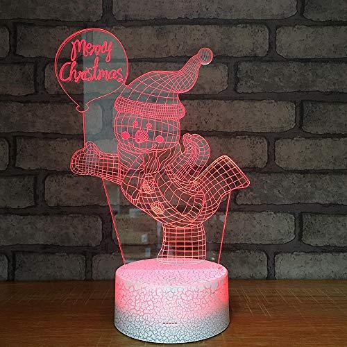 Luce Notturna 3D Illusione Ottica Led Lampada Piccolo Pupazzo Di Neve Interruttore Tattile Cambio 7 Colori Lampada Da Letto Per Camera Da Letto Per Bambini, Regali Per Feste Di Compleanno Per Bambini