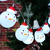 Bestllin LED Snowman String Starry Light for Gardens, Home, Wedding, Christmas Party, Battery-Powered, Metal, 110 W, Warm White
