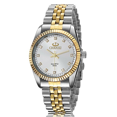XLORDX Herren Armbanduhr Analog Quarz Strass Silber Gold Uhr mit Edelstahl Armband Weiß Zifferblatt