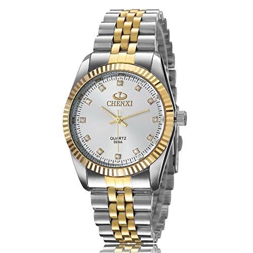 XLORDX Herren Armbanduhr Analog Quarz Strass Silber Gold Uhr mit Edelstahl Armband Weiß Zifferblatt (Herren Uhr Silber Zifferblatt)