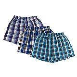 Vêtements pour hommes Boxe Coton Treillis Angle plat Shorts (3 paquets) Élasticité Doux Respirant Coton Shorts Hommes caleçon , lattice , L