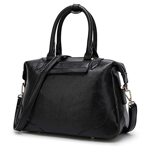 Eeayyygch Handtasche Womens Multiple Pockets Medium Size Long Strap Schultertasche Tragegriff mit Gurt, schwarz (Farbe : Schwarz)