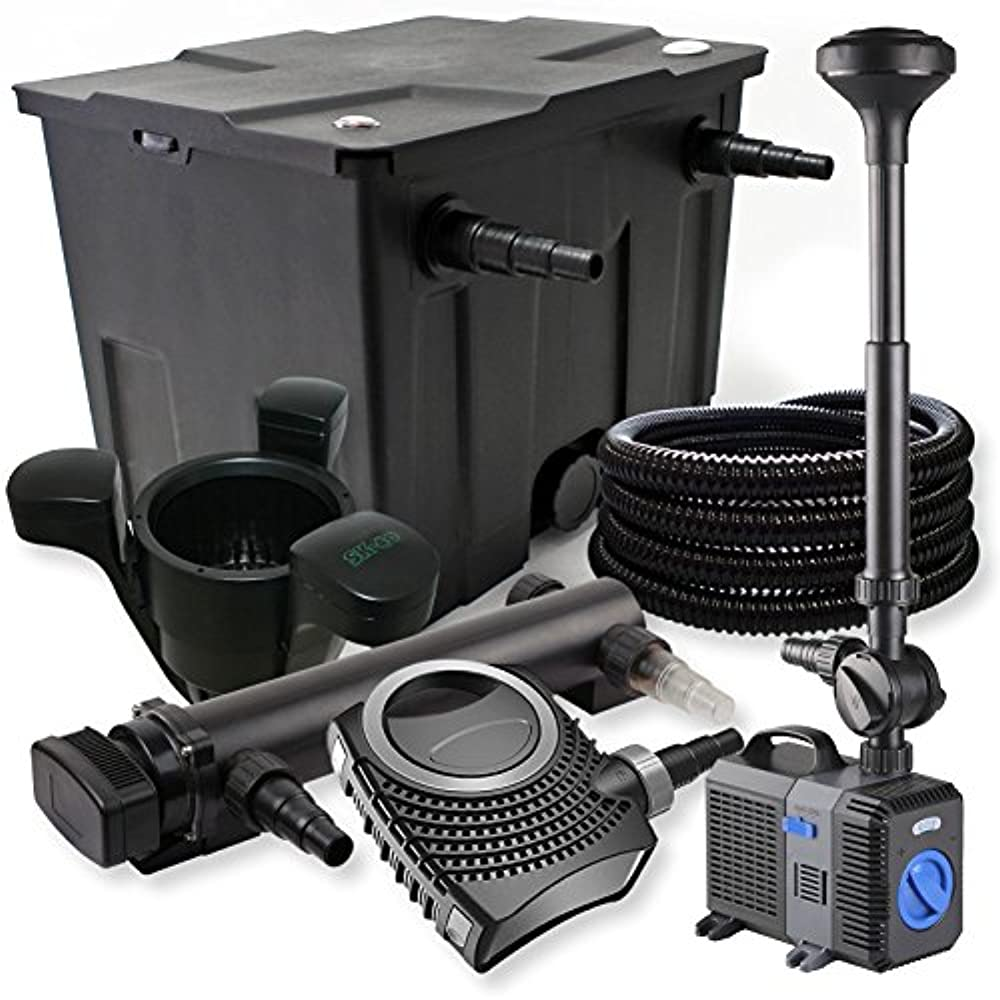 TT3-Kammer Filter Set 90000l 36W UVC Teich Klärer NEO10000 80W Pumpe Schlauch Sk