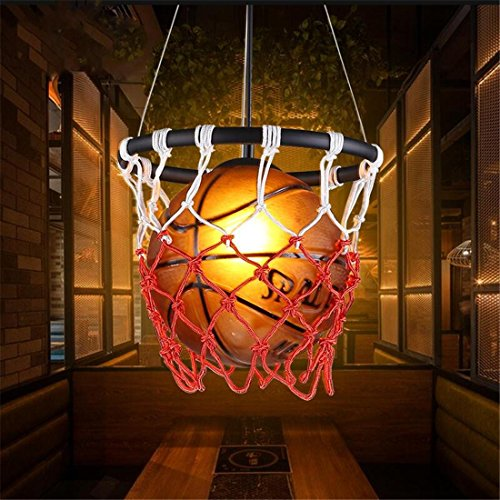 Kreative Basketball Form Deckenlampe, Retro Country Style, Thema Restaurant Cafe Bar Dekorative Pendelleuchte