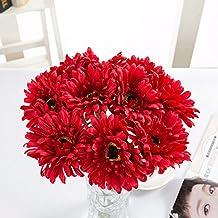 YSBER 1 * 10pcs Gerbera artificiale fiori finti Fiori Matrimonio Bouquet Decorazione tavolo da giardino, Bouquet(Rosso)