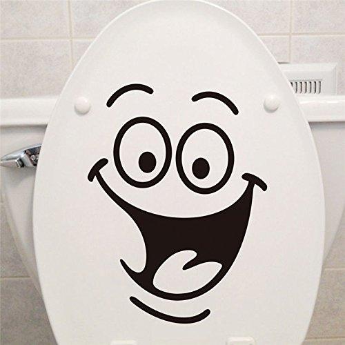 Caricatura Sonriente Cara Pegatinas De Pared WC Cuarto De Baño Removible Etiquetas De La Pared (Negro)