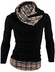 Gleader Nouveau Mode Mince fit Patchwork Col Plaid Tricots Vetements pour hommes Noir XL