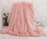 Súper suave y larga Shaggy Throw Manta de piel sintética Cálida y acogedora con mullida manta de colcha adecuada para cama o sofá, manta de piel sintética para sofá cama de peso ligero manta 130X160cm (Frijoles rosa)