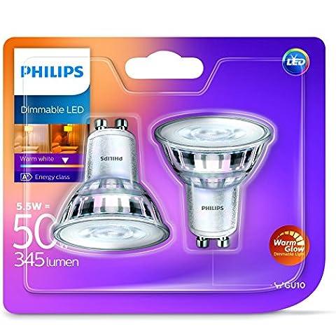 Philips LED classica Warmglow 5,5W Spot Luce, Bianco caldo, dimmerabile GU10vetro di ricambio per 50W alogena Spot), confezione da 2, Vetro, GU10, 5.Watt, confezione da 2