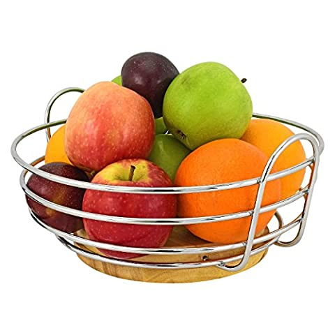Top Home Solutions® Round Chrome Wire Fruit Bowl with Rubber