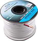 C&E 14AWG CL2 Rated 2 Conductor Loud Speaker Cable (for in-Wall Installation) (100 Feet/30.48 Metre) - White