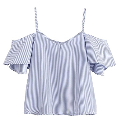 MERICAL Women Summer Pinstripe Blouse Cold Shoulder Top