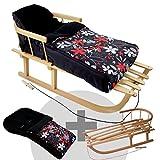 RAWSTYLE *KOMBI-PAKET* Holz-Schlitten mit Rückenlehne & Zugseil + universaler Winterfußsack (108cm) FLEECE, auch geeignet für Babyschale, Kinderwagen, Buggy (Schwarz + Rot/Graue Blumen)