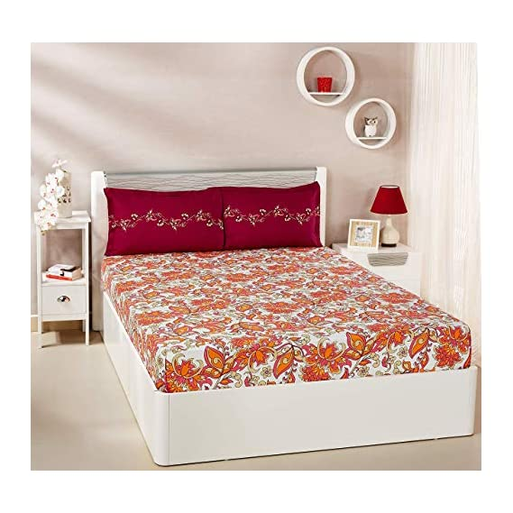 Amazon Brand - Solimo Trellis Tales 144 TC 100% Cotton Double Bedsheet with 2 Pillow Covers, Maroon and Orange