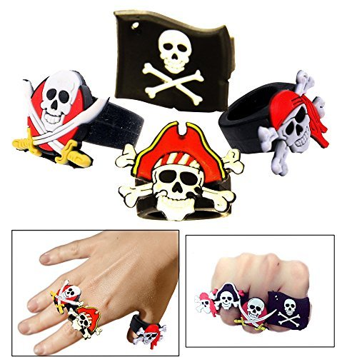Toy Cubby Pretend and Play Rubber Skull and Crossbone Pirate Ring - 24 Pcs by Toy Cubby