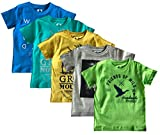 #8: ELK Little Master Kids Boy's Round Neck Printed Half sleeve 100% Cotton Blue Yellow Grey and Green 5 Piece Combo
