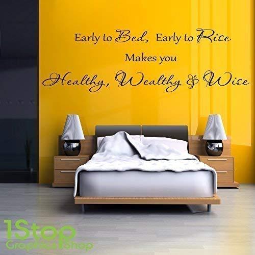1Stop Graphics Shop - Gesund Wealthy and Wise Wandaufkleber Zitat - Schlafzimmer Heim Wandkunst Aufkleber X235 - Beige, Large