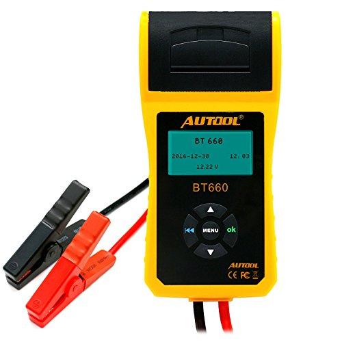 AUTOOL BT660 12V / 24V Batterietester Analysator mit Drucker für regelmäßig überflutete CCA 100-3000 Kaltstartverstärker Auto Batterie Direkte Gesundheitsprüfer mit Datendrucker, Anlasssystem Test und Ladesystem Test