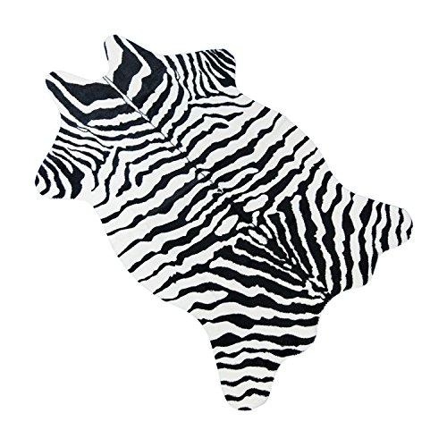 Bioeilife Kunstfaser Teppich Zebra Sitzunterlage Dekoration für Schlafzimmer Wohnzimmer,110cm x 75cm