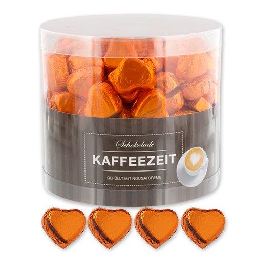 Günthart 150 Stück orange Schokoladen Herzen mit Nougatfüllung   Nougatcreme Kaffeezeit   Schokoladenherzen orange St. Sebastian   Give away   orange Herzen aus Schokolade   Kaffeezeit (1,1 kg)