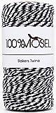 100% Mosel Schnur Schwarz Weiß | 2 mm stark | 100 m Bastelschnur | Bakers Twine | Baumwollschnur | Geschenkband | Dekokordel