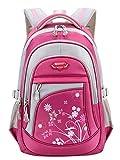 Happy Cherry Schulrucksack Blumen Schulranzen Schultasche Sports Rucksack Freizeitrucksack Daypacks Backpack für Mädchen Jungen Kinder Damen Herren Jugendliche-Korallenrot