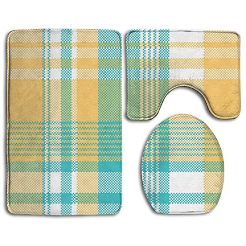 NFHRRE Yellow Blue Lite Color Pixel Plaid Seamless Toilet Carpet?Fashion Bathroom Rug Mats Set 3 Piece Anti-Skid Pads Bath Mat + Contour + Toilet Lid Cover - Lite-urinal