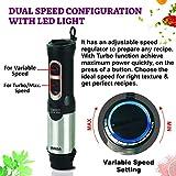 Inalsa Hand Blender Robot INOX 1000 Powerful 3 in 1 | Chopper/Whisker | Silent 800 Watt DC Motor | Variable Speed | 600 ml Multipurpose Jar |LED Light | 2 Yr. Warranty | (Silver/Black)