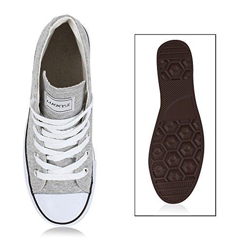 Sportliche Damen Sneakers |Stoffschuhe Camouflage Schnürer | Sneaker High Neon | Sportschuhe Hellgrau