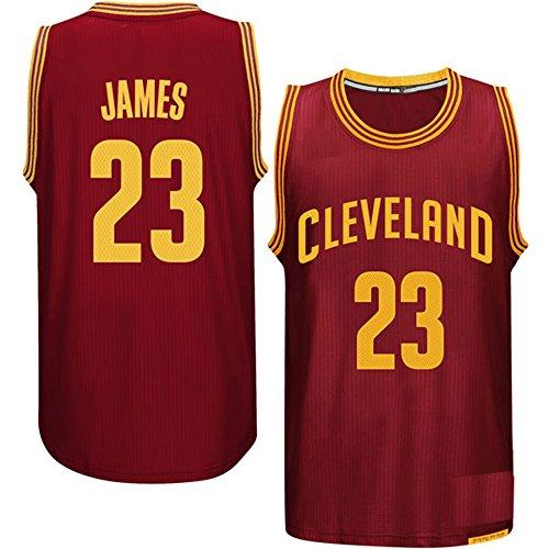 NbCsport Herren-Shirt, authentisches Cleveland Cavaliers-King 23LeBron James, marineblauer Basketball-Trikot, Herren, burgunderfarben
