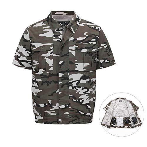 Kühlgebläse Jacke,Klimaanlage Kleidung Arbeitskleidung, Sonnenschutzkleidung,für Overalls mit hohen Temperaturen,Outdoor-Sonnenschutzkleidung (Tarnen, XXL) ()