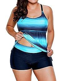 QinMM Conjunto de Tankinis Mujer Talla Grande, Traje de Baño Push up Beachwear Bikini