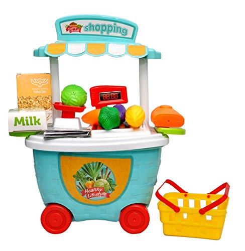 Toyshine Bucket Cum Trolley Supermarket Play Cart Pretend Play Set Toy